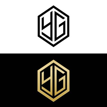 initial letters logo yg black and gold monogram hexagon shape vector