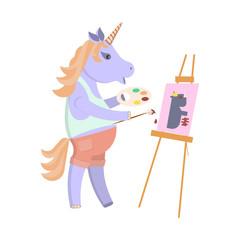 Funny artist animal character