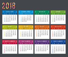 Year 2018 calendar vector template. Modern 2018 calendar. Vector of Calendar 2018 year, 12 month calendar with modern style. Vector template of 2018 calendar