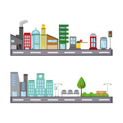 road with city buildings icon over white background colorful design vector illustration