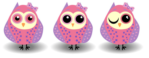 A set of three lovely owls-girls in pink-lilac tones in circles with bows on the ears and different eyes