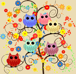 Six lovely owls blue, red, pink, yellow, purple, blue with huge eyes sitting on a fantastic tree with flowers and sparkles