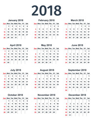 Calendar 2018 year. Week starts Sunday. Vector. Stationery template in minimal design. Yearly calendar organizer.