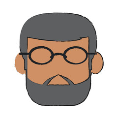 Old man face cartoon icon vector illustration graphic design