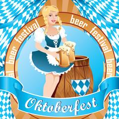 Cute Oktoberfest girl, wearing a traditional Bavarian dress with big beer mugs and barrel / Oktoberfest banner, flat design, vector cartoon illustration