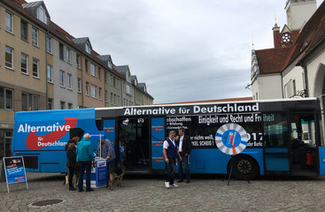 Election campaign bus of Germany's far-right Alternative for Deutschland (AfD) in Frankfurt Oder