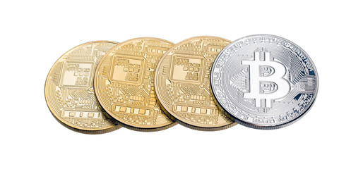 Golden and silver bitcoins isolated on white.