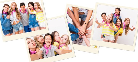 Group of teenage friends holding hands, on summer holidays, active and positive, collage