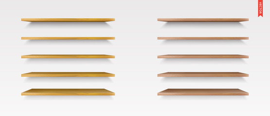 Set of Wood Shelves Vector Isolated on the Wall Background