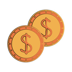 dollar coins cash money icon image vector illustration design