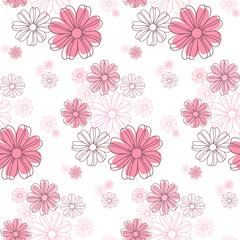 Seamless flower pattern, cute floral texture, vector illustration.