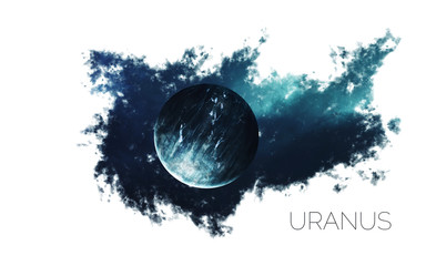 Uranus. Space style water splash on white background.  Creative layout made of nebula with planet of solar system. Elements of this image furnished by NASA