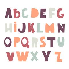 Cute decorative alphabet in cutted style. Childish creative abc. Vector Illustration