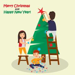 Children decorate Christmas tree color illustration