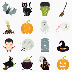 Halloween color flat icons set