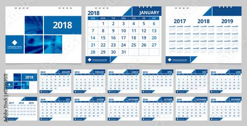Calendar 2018 week start on Sunday. Desk calendar for corporate ...