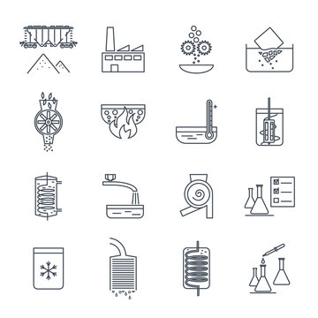 set of thin line icons industrial production, manufacturing process, technology, equipment