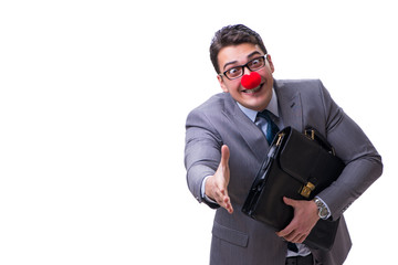Funny clown with briefcase on white