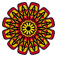 Sun color flower mandala. Energy symbol. vector illustration. for greeting card, invitation, tattoo, spa, yoga symbol.