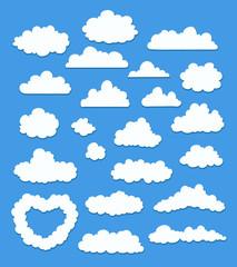 set of cartoon clouds on blue. vector illustration