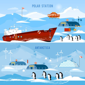 North Pole, polar station banners. Scientific station studying of Antarctica and North Pole. Penguins.