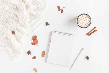 Autumn composition. Hot chocolate, blanket, notebook, autumn leaves, cinnamon sticks on white background. Flat lay, top view