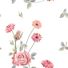 Vector square floral seamless pattern with pink rose, gerbera daisy, canvas for embroidery. Red, pink flowers, leaves on white background, digital draw, ornament for fashion, vector
