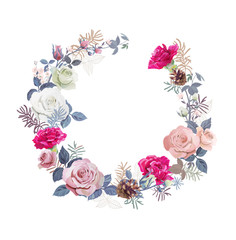 Floral wreath with bouquet white, pink roses, red carnations (flowers, buds, leaves), small twigs, pine cones on white background, digital draw illustration for Christmas, template, vector