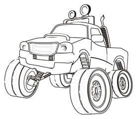 monster, truck, monster truck, big foot car, big foot, extreme, auto, motor racing, motor, cartoon, transport, car, bumper, big, up,  driving, outside driving, wheel, coloring, paint, not colored