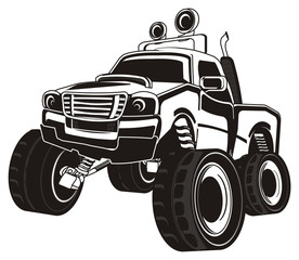 monster, truck, big foot, extreme, auto, motor racing, motor, cartoon, car, driving, outside driving, wheel, black and white, black, not colored,