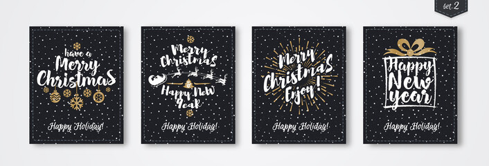 Christmas greeting card set with emblem gold style consisting sign Merry Christmas, Happy New Year with santa and deer, sunburst on snow holiday background black color. Vector Illustration