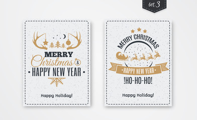 Christmas greeting card set with emblem gold style consisting sign Merry Christmas with santa and deer, tree, horn on white snow holiday background. Vector Illustration