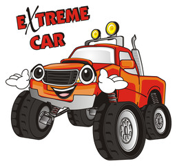 monster, truck, big foot, extreme, auto, motor racing, motor, cartoon, transport, car, bumper, big, up,  driving, outside driving, wheel, face, emotion, smile, hands, happy, words, inscription