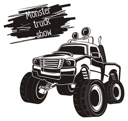 monster, truck, monster truck, big foot car, big foot, extreme, auto, motor racing, motor, cartoon, transport,  wheel, black and white, black, not colored, words, show, letters inscription
