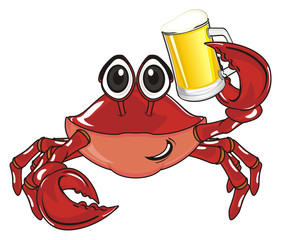 crab, claw, shell, cartoon, marine life, ocean,  red, pink, hold, drink, glass, beer, mug, full