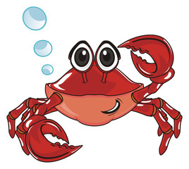 crab, claw, shell, cartoon, marine life, ocean,  red, pink,  fly, many, a lot, blue, bubbles