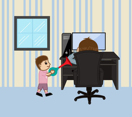 Cartoon Kid Playing in Home - clip-art vector illustration