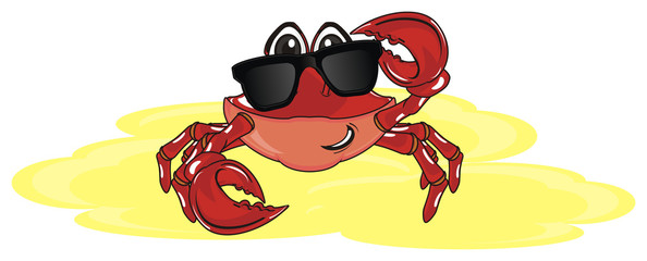 crab, claw, shell, cartoon, marine life, ocean,  red, pink, sand, vacation, yellow, summer, cool, trendy, black, sunglasses