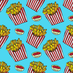 French fries in a striped box and sauce, hand drawn doodle, sketch in pop art style, seamless pattern design on blue background