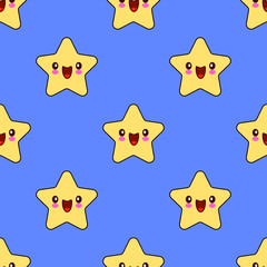 Seamless pattern with smiley kawaii stars characters. funny face Flat design Vector Illustration