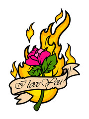 Valentine Rose tattoo with Fire Vector