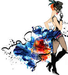 Cabaret dancer.Watercolor splash.can can.girl