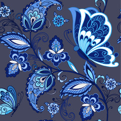 Traditional oriental seamless paisley pattern. Vintage flowers ornament with butterflies in blue colors. Decorative ornament backdrop for fabric, textile, wrapping paper