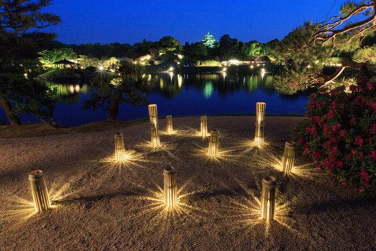 岡山後楽園「夜間特別開園 春の幻想庭園」日本三名園