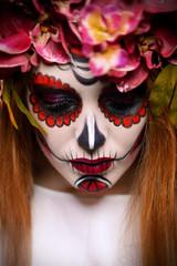closeup sugar skull girl