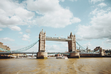 Tower Bridge in London, the UK. View from the River