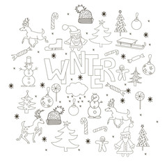 Marry Christmas background. Hand drawn vector set  with Santa Claus, deer, fir trees, snowman, snowflake, sledge.