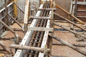 Rebar steel reinforcement in beam concrete structure of  home building