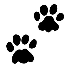 A pair of paw prints, vector graphic on isolated background. Elements for various composition.