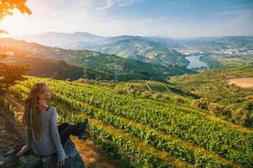 Douro Valley, Portugal. Top view of river, and the vineyards are on a hills..